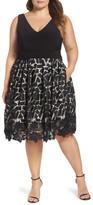 Xscape Evenings Lace & Jersey Dress (Plus Size)