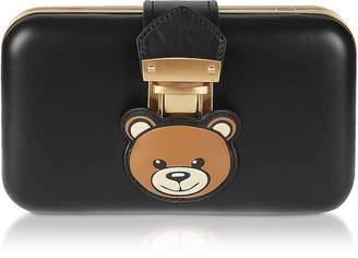 Moschino Black Teddy Pocket Leather Clutch w/Chain Strap