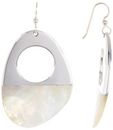 Simon Sebbag Sterling Silver Asymmetrical Half Dipped Mother of Pearl Drop Earrings