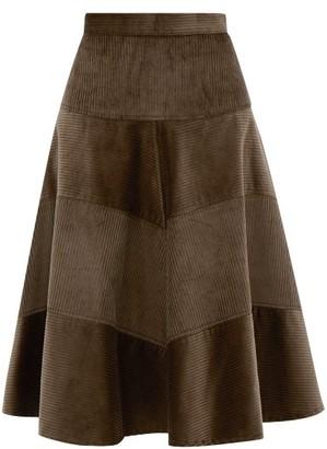 Symonds Pearmain - Panelled Cotton-corduroy Skirt - Brown