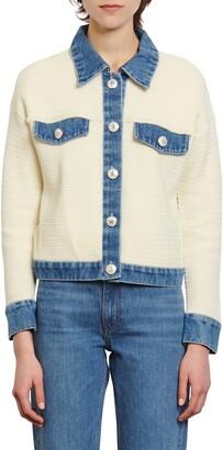 Sandro Nino Denim Detail Cotton Jacket