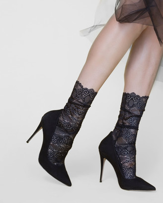 High Heel Jungle - Women's Black Socks - Scalloped Lace Socks - Size One Size, One size at The Iconic
