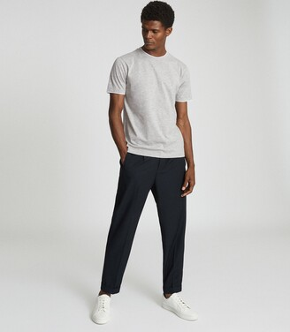 Reiss Walter - Cotton T-shirt With Double-layer Detail in Grey