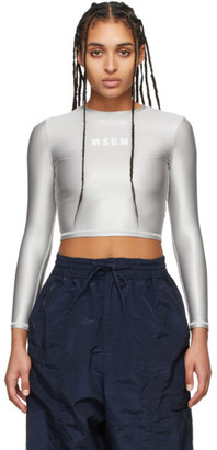 MSGM Grey Sport Long Sleeve T-Shirt