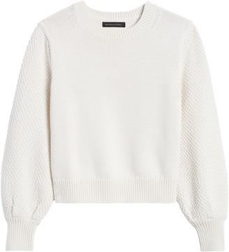 Banana Republic Petite Cotton-Blend Balloon-Sleeve Sweater