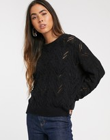 Stradivarius braided knit sweater in black