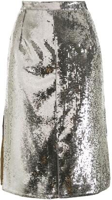 No.21 Sequin-Embellished Pencil Skirt