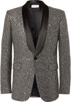 Saint Laurent - Black Sequinned Woven Tuxedo Jacket
