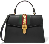Gucci Sylvie Medium Chain-embellished Leather Tote - Black
