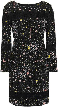 Boutique Moschino Lace-trimmed Printed Stretch-silk Mini Dress