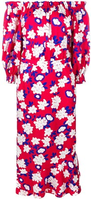 Saloni Off-Shoulder Floral Dress