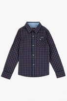 7 For All Mankind Boys 4-7 Roll-Tab-Sleeve Poplin Button-Up Shirt With Chambray In Burnt Sienna Plaid