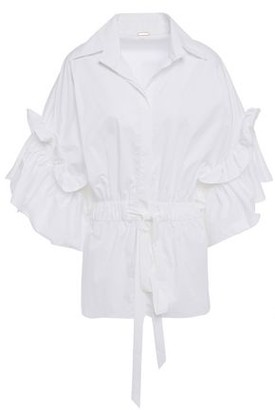 Johanna Ortiz Marco Polo Ruffle-trimmed Cotton-blend Poplin Shirt