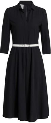 Akris Punto Belted Wool Midi Dress