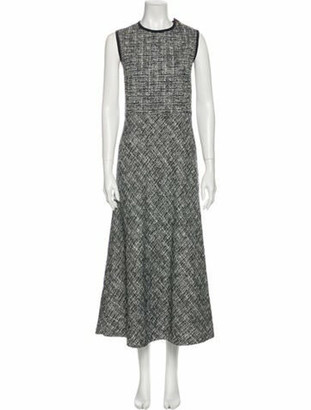 Max Mara Tweed Pattern Long Dress Blue