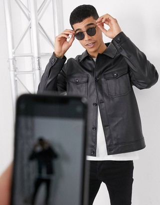 Asos DESIGN harrington jacket in faux leather with utility pocketing in black