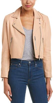 Doma Studded Leather Cropped Biker Jacket
