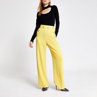 River Island Yellow button front wide leg trousers