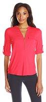 Calvin Klein Women's Solid Half-Zip Roll-Sleeve Blouse