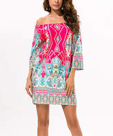 Chateau Amour Women's Casual Dresses pink - Pink & Turquoise Paisley Bell-Sleeve Off-Shoulder Dress - Women & Juniors