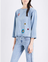 Diesel Elly eyelet-detail denim top