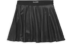 Mia Girl's Faux Leather Studded Skater Skirt