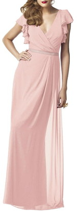Dessy Collection Sequin Flutter Sleeve A-Line Gown