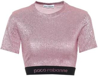 Paco Rabanne Metallic stretch-jersey crop top