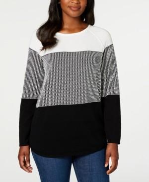 Karen Scott Colorblocked Curved-Hem Textured Sweater, Created for Macy's