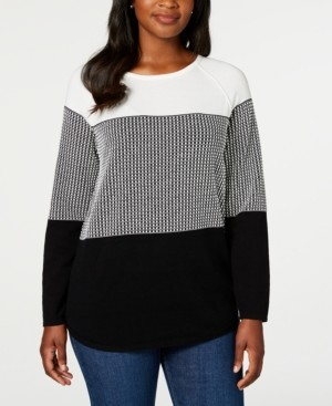 Karen Scott Plus Size Plus Size Colorblocked Curved Hem Sweater, Created For Macy's