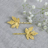 Nell Little Gold Maple Leaf Hair Slides