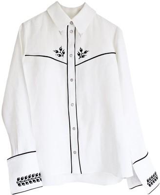 Florence Bridge Embroidered Cowboy Shirt White