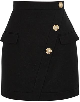 Balmain Black metallic-weave mini skirt