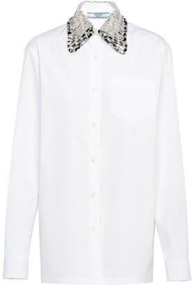 Prada Embellished-Collar Buttoned Shirt