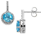 Lord & Taylor Sterling Silver Blue and White Topaz Earrings