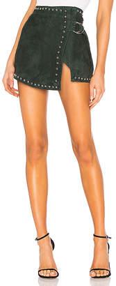 Understated Leather Studded Wrap Mini Skirt