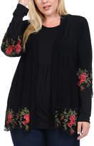 Bellino Black Embroidery-Hem Open Cardigan - Plus