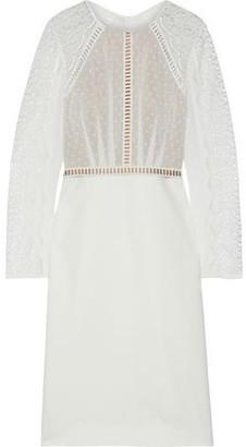 Catherine Deane Nieve Macrame Lace, Swiss-dot Chiffon And Ponte Dress