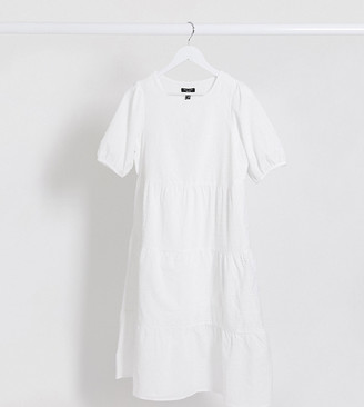 New Look Petite broderie tiered dress in white