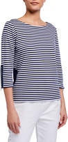 Joan Vass Plus Size Striped 3/4-Sleeve Top w/ Circle Pockets