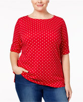 Karen Scott Plus Size Dot-Print Boat-Neck Top, Only at Macy's