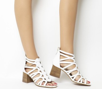 Office Money Interlaced Block Sandals White Leather
