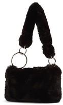 Topshop Teddy Faux Fur Shoulder Bag - Black
