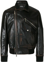 DSQUARED2 biker jacket - men - Calf Leather/Polyester - 46