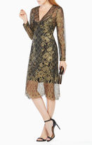 BCBGMAXAZRIA Celestina Sheer Metallic Lace Dress