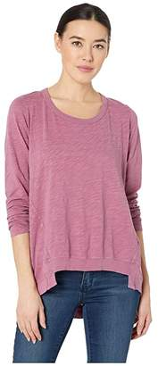 Mod-o-doc Slub Jersey Long Sleeve Forward Seam Step Hem T-Shirt (Purple Rose) Women's T Shirt