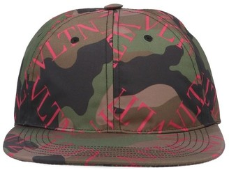 Valentino Camouflage Logo Print Baseball Cap