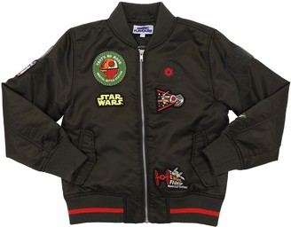 Fabric Flavours Padded Nylon Bomber Jacket W/ Patches