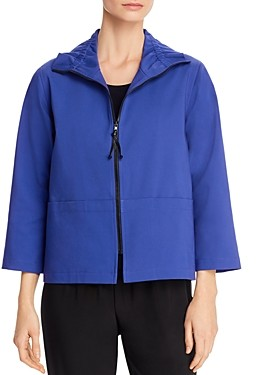 Caroline Rose Ruched Collar Zip-Front Jacket