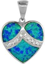 Sabrina Silver Sterling Silver Heart Pendant Synthetic Opal Inlay Cubic Zirconia Accent, 3/4 inch tall